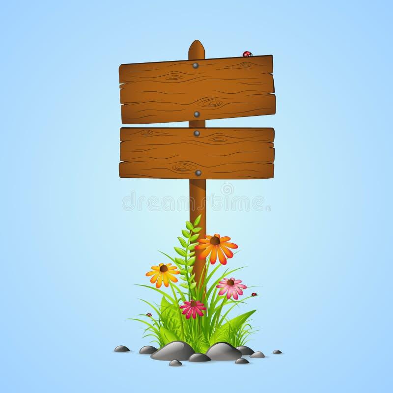 Di legno canti la stagione primaverile con i fiori su fondo blu royalty illustrazione gratis