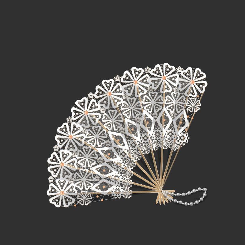 Di legno con il fan di orientale del pizzo illustrazione di stock