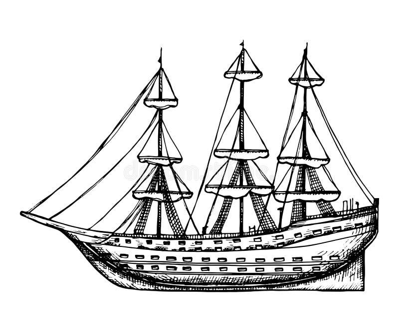 Di legno d'annata della nave con lo schizzo di vettore delle vele illustrazione isolata disegno della mano su fondo bianco illustrazione di stock
