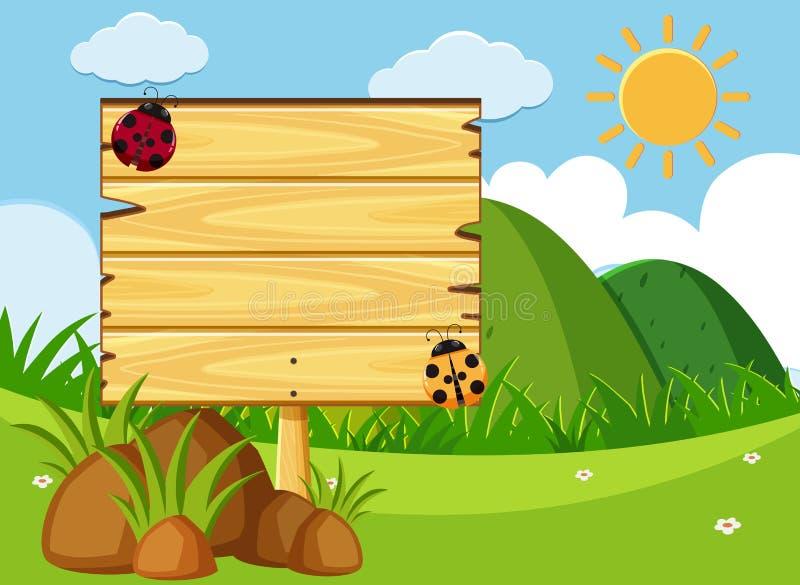 Di legno firmi dentro il parco verde illustrazione di stock