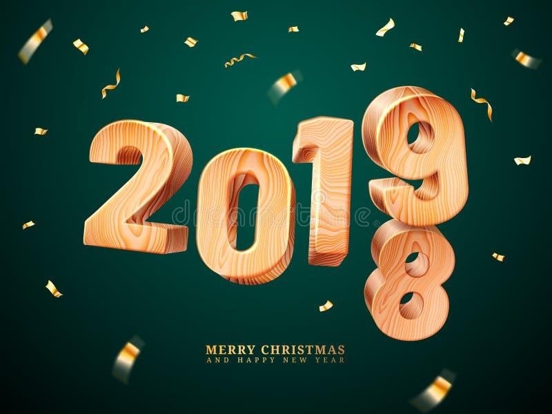 2019 di legno per il Buon Natale ed il nuovo anno illustrazione di stock