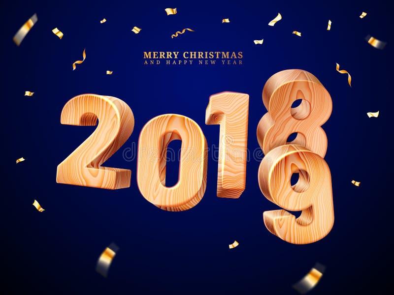 2019 di legno per il Buon Natale ed il nuovo anno illustrazione vettoriale