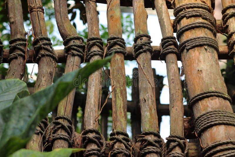 Di legno recinti lo zoo a Leipzig in Germania fotografie stock