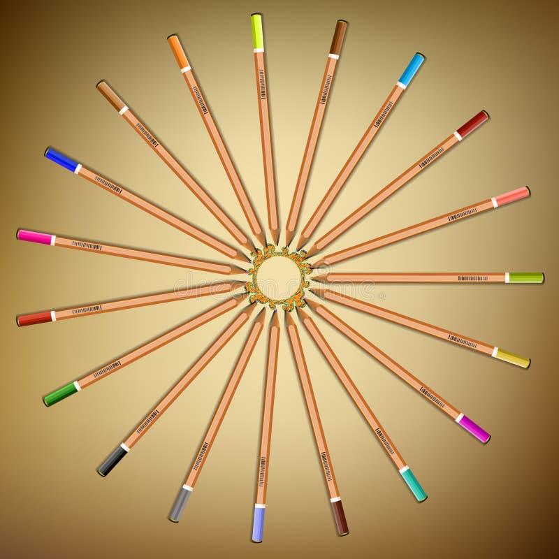 di matite colorate Multi presentate in un cerchio sulla carta Vettore illustrazione vettoriale