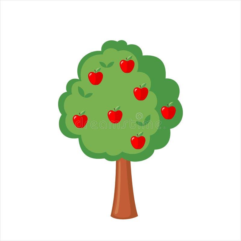 Di melo verde in pieno delle mele rosse illustrazione di stock