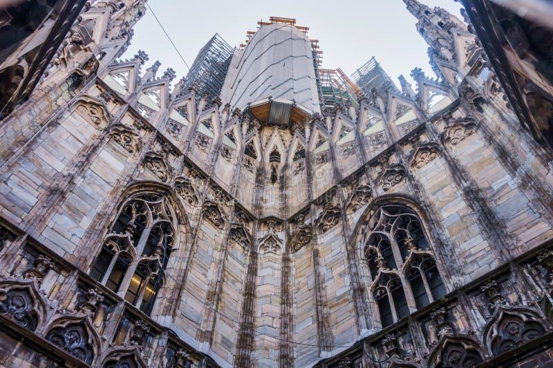 Di Milaan van kathedraalduomo in Italië stock afbeelding