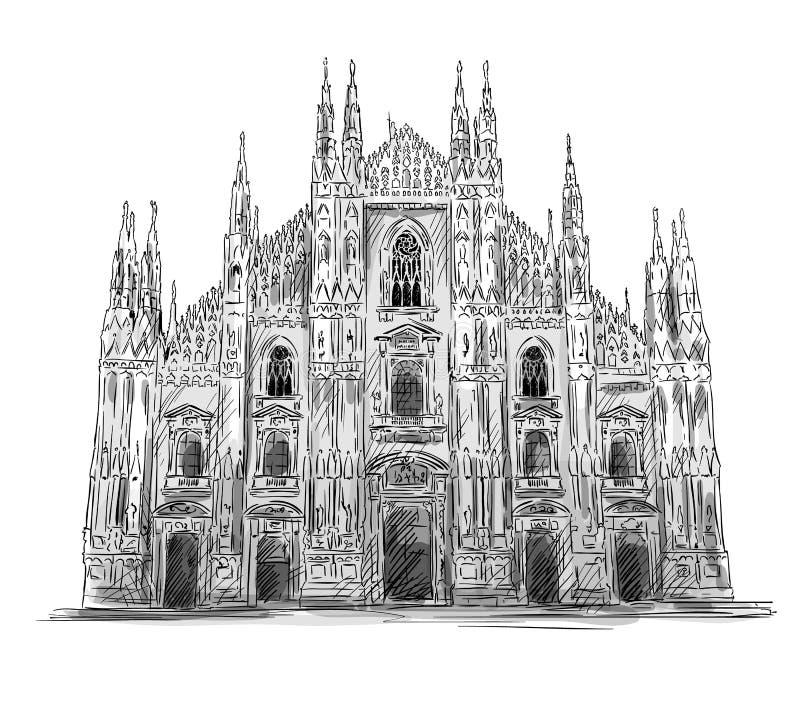 Di Milano del Duomo Milan Cathedral ilustración del vector