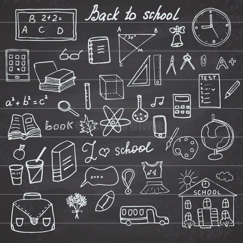 Di nuovo agli scarabocchi imprecisi del taccuino dei rifornimenti di scuola fissati con iscrizione, elementi disegnati a mano di  illustrazione di stock