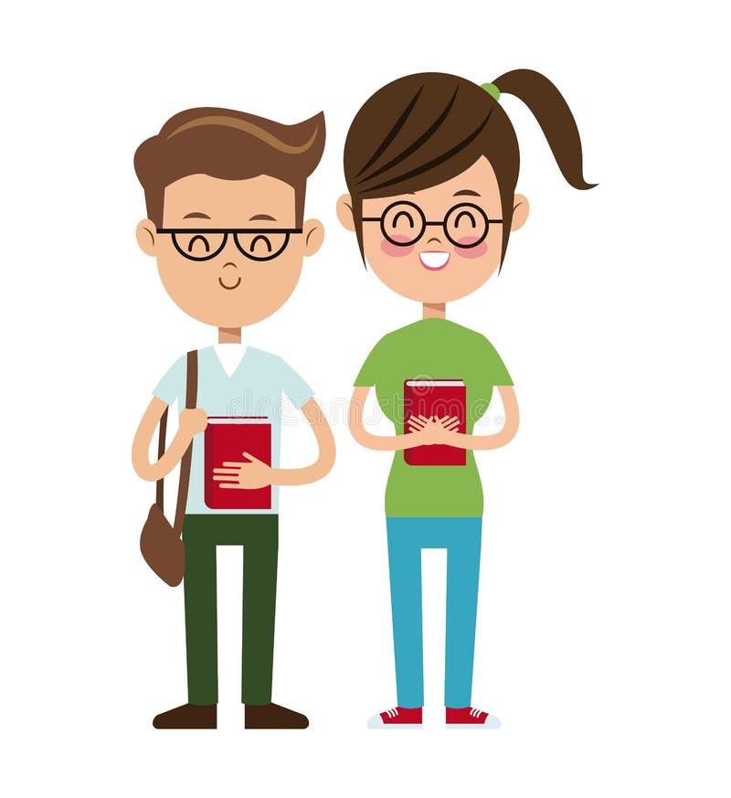 Di nuovo agli studenti del nerd del ragazzo e della ragazza di scuola royalty illustrazione gratis