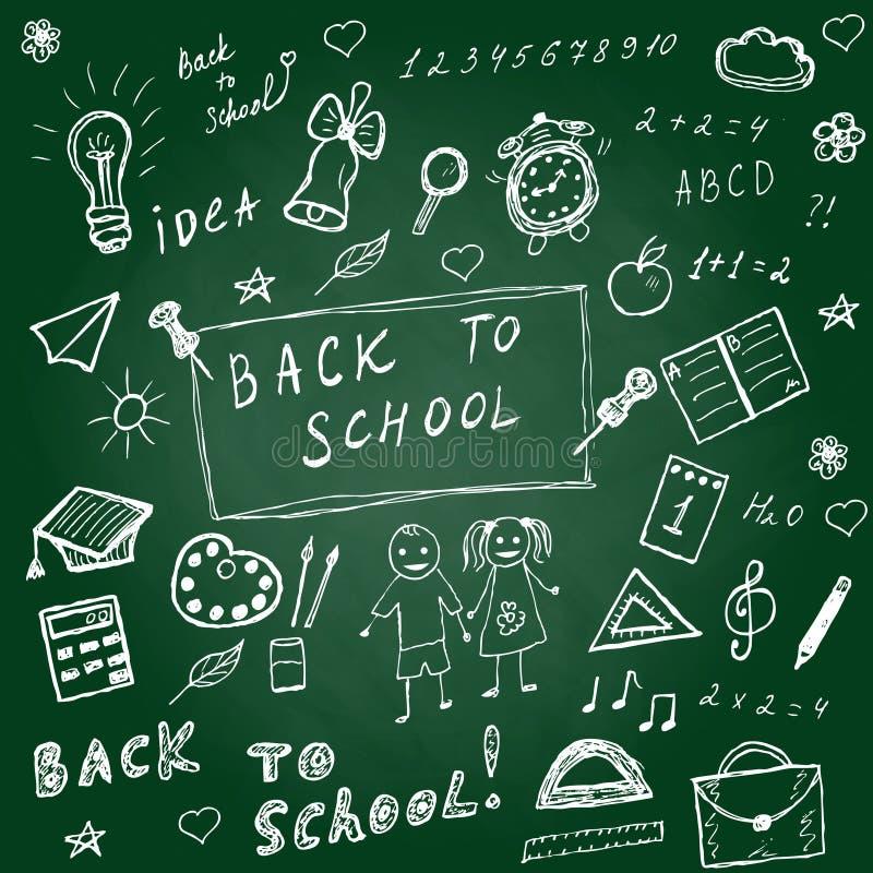 Di nuovo ai doodles del banco Icone disegnate a mano della scuola messe Icone della scuola di schizzo messe Illustrazione di vett illustrazione di stock