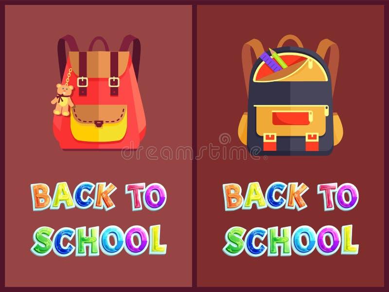 Di nuovo ai manifesti della scuola con gli zainhi o gli Zaini illustrazione di stock