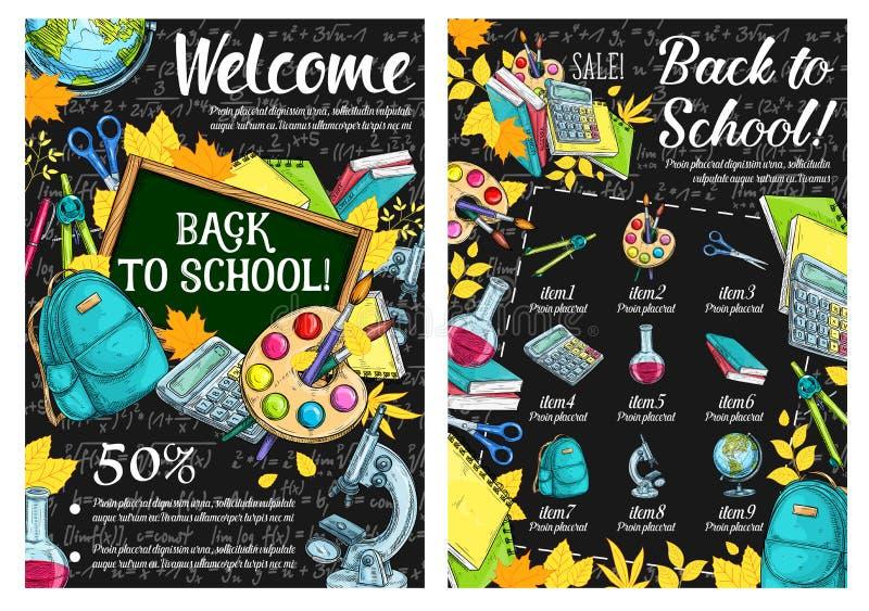Di nuovo ai manifesti di schizzo di vendita di lezione di vettore della scuola illustrazione di stock
