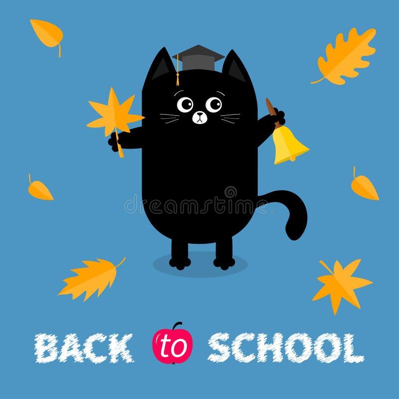 Di nuovo al banco Campana di squillo dell'oro del cappuccio del cappello di graduazione del gatto nero di rosso arancio della fog royalty illustrazione gratis