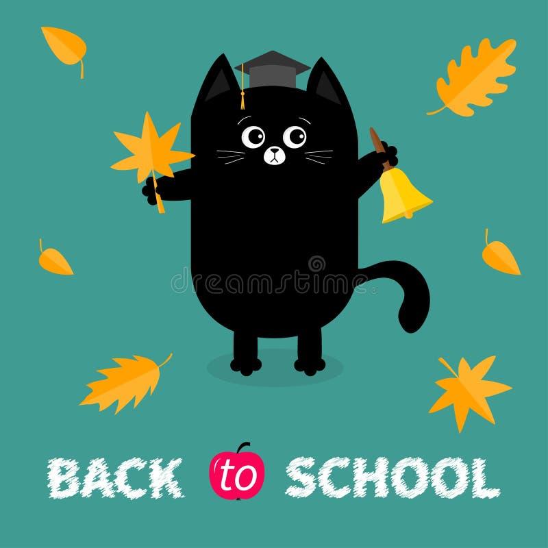 Di nuovo al banco Campana di squillo dell'oro del cappuccio del cappello di graduazione del gatto nero di rosso arancio della fog illustrazione di stock