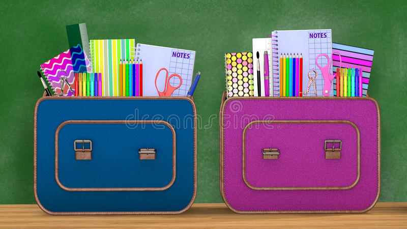 Di nuovo al banco Due zainhi d'annata in pieno dei rifornimenti di scuola per i ragazzi e le ragazze illustrazione di stock