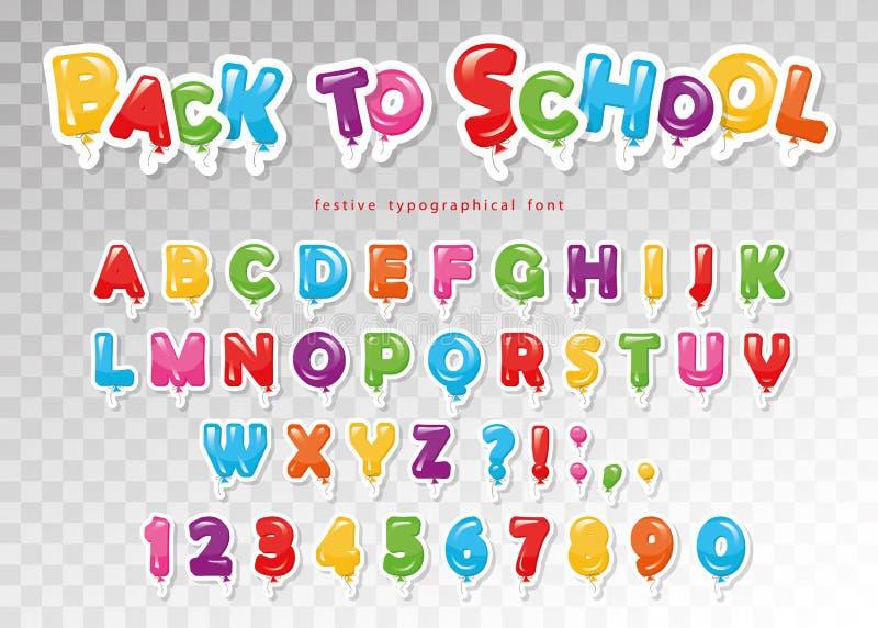 Di nuovo al banco Fonte variopinta del pallone per i bambini Lettere e numeri divertenti di ABC Per la festa di compleanno, docci illustrazione vettoriale