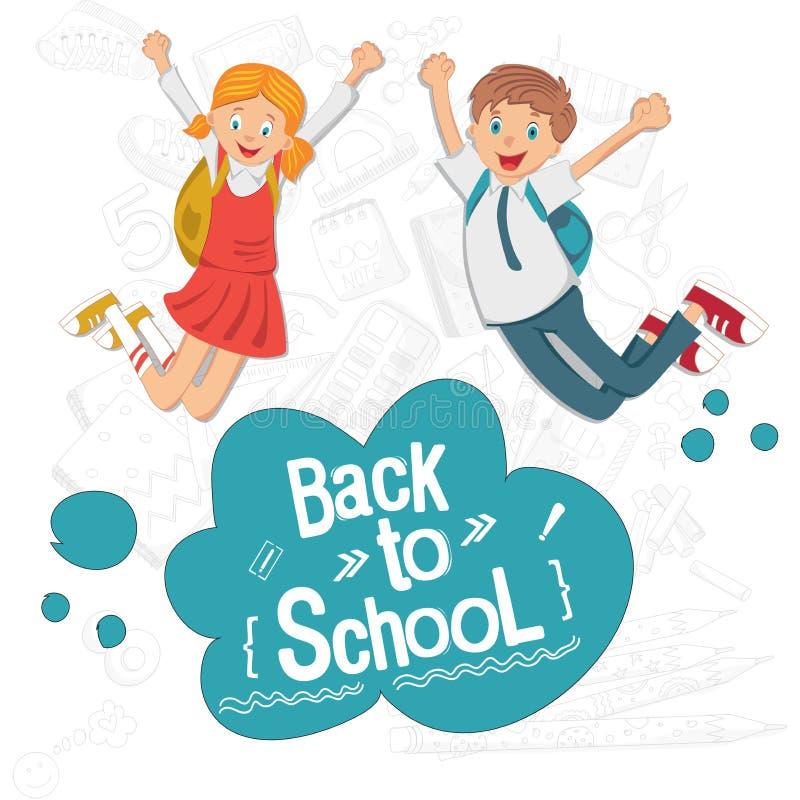 Di nuovo al banco Gli studenti allegri sono felici e vanno a scuola Studenti in uniforme scolastico royalty illustrazione gratis