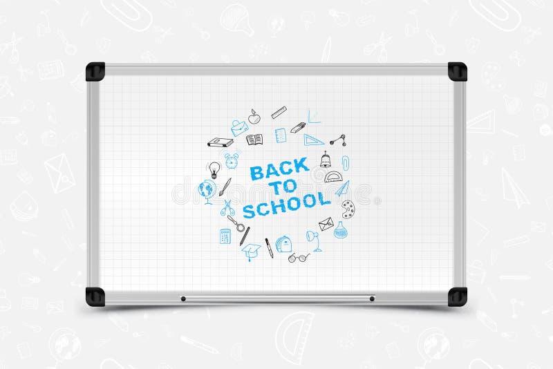 Di nuovo al banco Insieme delle icone di scarabocchio con lo scrittorio bianco di pianificazione per istruzione Illustrazione EPS illustrazione vettoriale