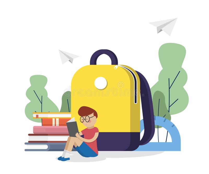 Di nuovo al banco Lo scolaro ha letto i libri vicino allo zaino della scuola Concetto di formazione Illustrazione di vettore illustrazione di stock