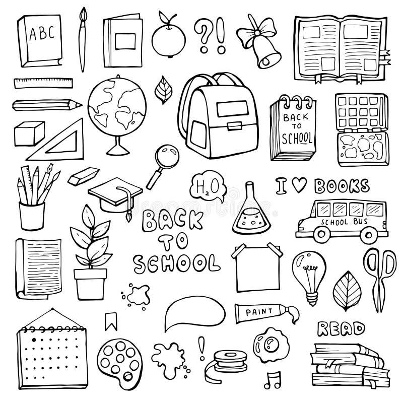 Di nuovo al banco oggetti di istruzione Insieme disegnato a mano di vettore dei rifornimenti di scuola di scarabocchio illustrazione di stock