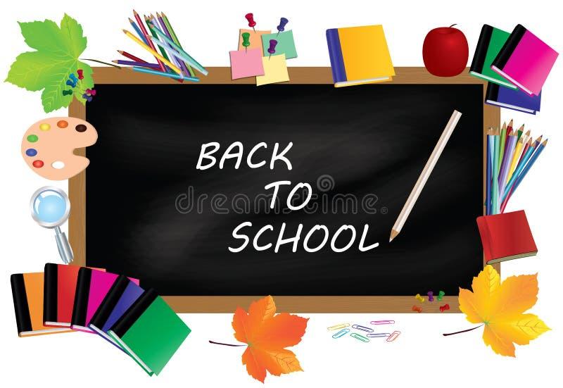 Di nuovo al banco Scrittorio nero con i rifornimenti di scuola e le foglie di autunno illustrazione vettoriale
