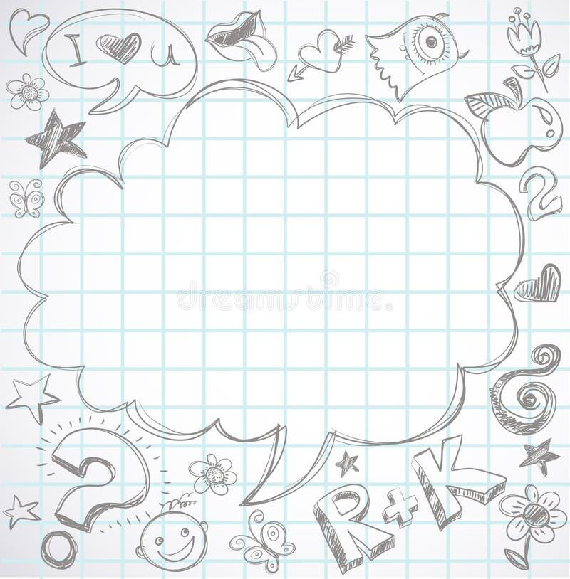 Di nuovo al banco - taccuino con i doodles illustrazione vettoriale