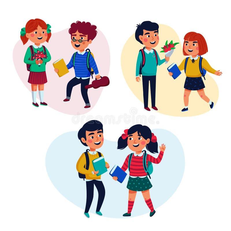 Di nuovo al concetto del banco Allievi, ragazza e ragazzi con i libri e gli zainhi su fondo blu Vettore piano di stile illustrazione di stock