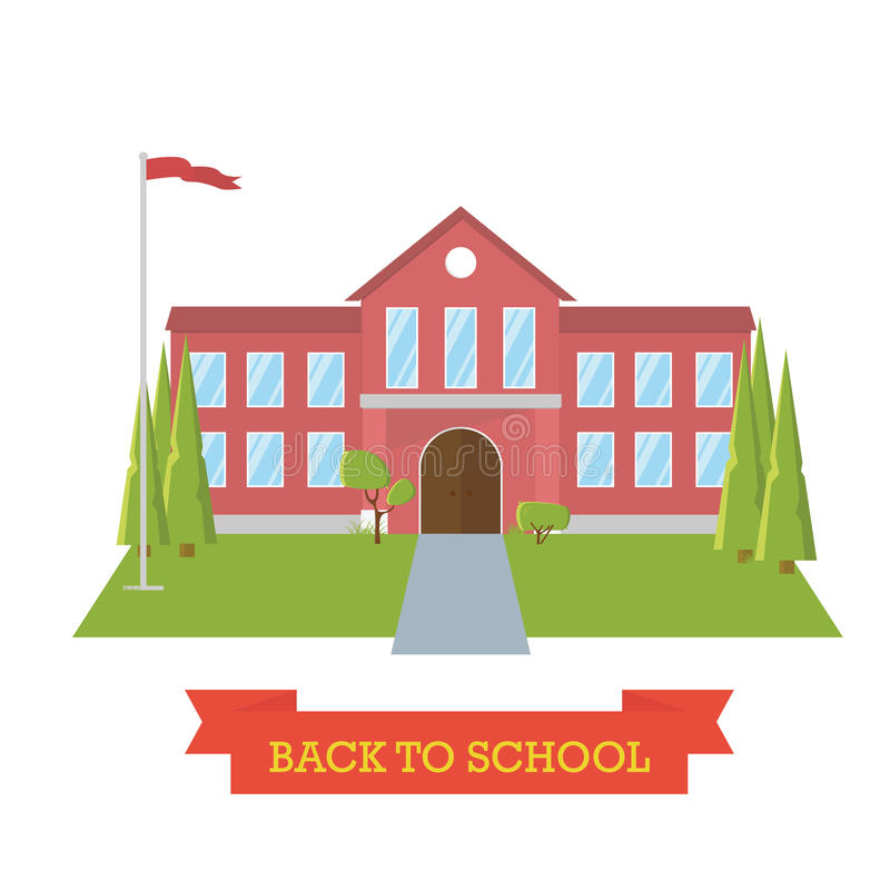 Di nuovo al concetto del banco Cortile della scuola con gli alberi e la bandiera Istruzione Costruzione piana di progettazione illustrazione vettoriale