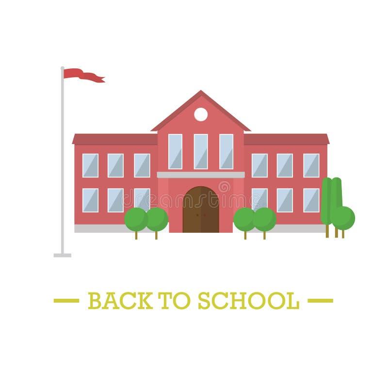 Di nuovo al concetto del banco Scuola con la bandiera ed alberi isolati royalty illustrazione gratis