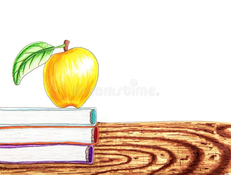 Di nuovo al fondo bianco della scuola con i libri, illustrazione disegnata a mano della mela fotografia stock libera da diritti