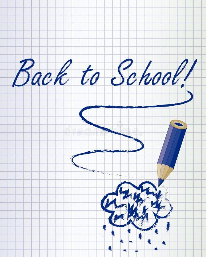 Di nuovo al fondo della scuola con una nuvola blu scuro di pioggia e della matita royalty illustrazione gratis