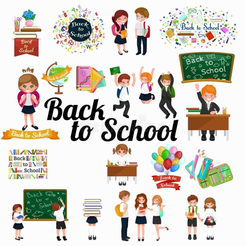 Di nuovo al fondo di concetto di istruzione dei bambini e della scuola royalty illustrazione gratis