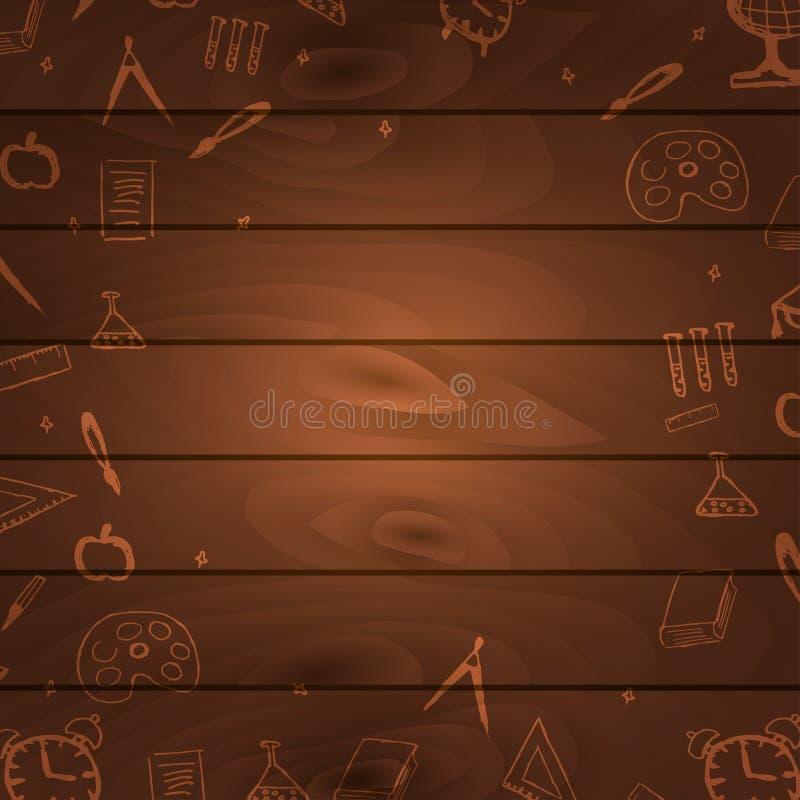 Di nuovo al fondo di legno della scuola Insegna di istruzione Illustrazione di vettore illustrazione di stock
