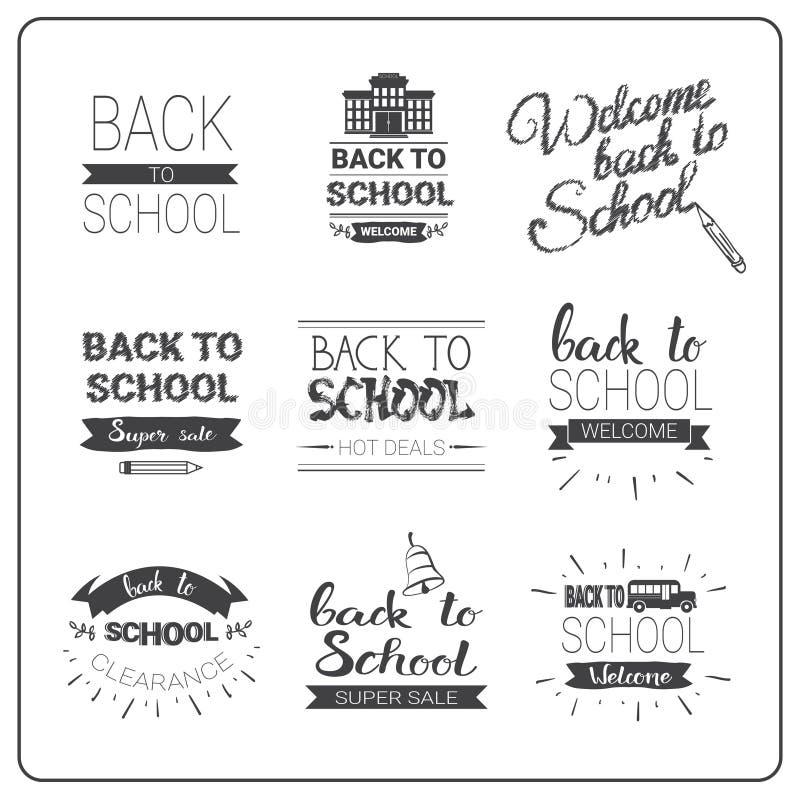 Di nuovo al logos della scuola messo scarabocchii la raccolta disegnata a mano dell'etichetta illustrazione vettoriale