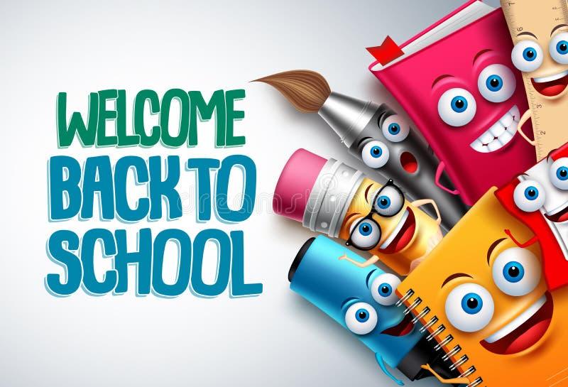 Di nuovo al modello del fondo dei caratteri di vettore della scuola con le mascotte divertenti del fumetto di istruzione illustrazione vettoriale