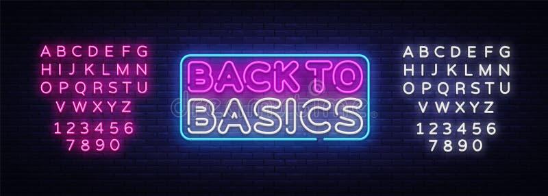 Di nuovo al modello al neon di progettazione di vettore del testo di basi Di nuovo al logo al neon di basi, moderno variopinto de illustrazione di stock