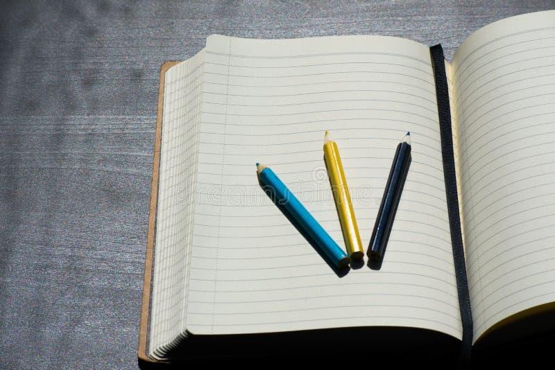 Di nuovo al taccuino giallo blu di colore della matita del pastello di Noteblock della scuola immagine stock