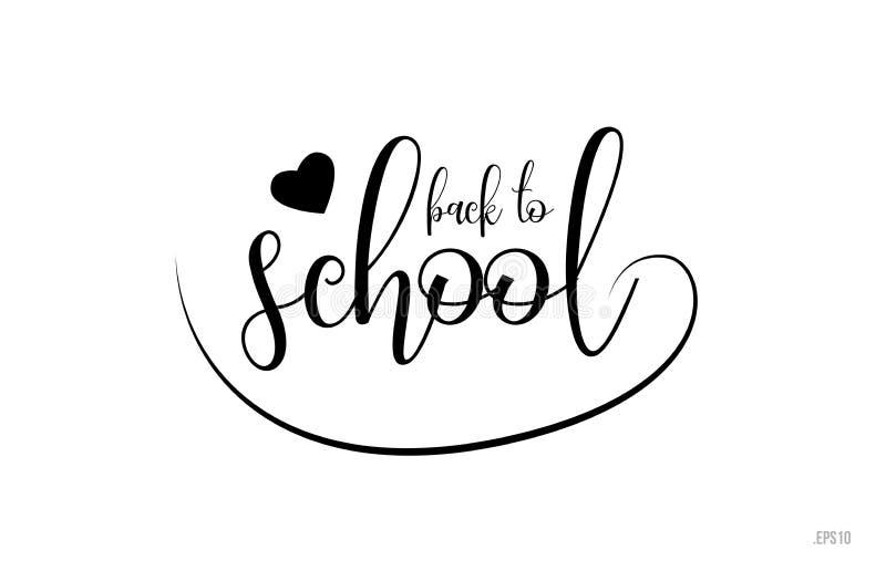 di nuovo al testo di tipografia della scuola con il cuore di amore illustrazione vettoriale