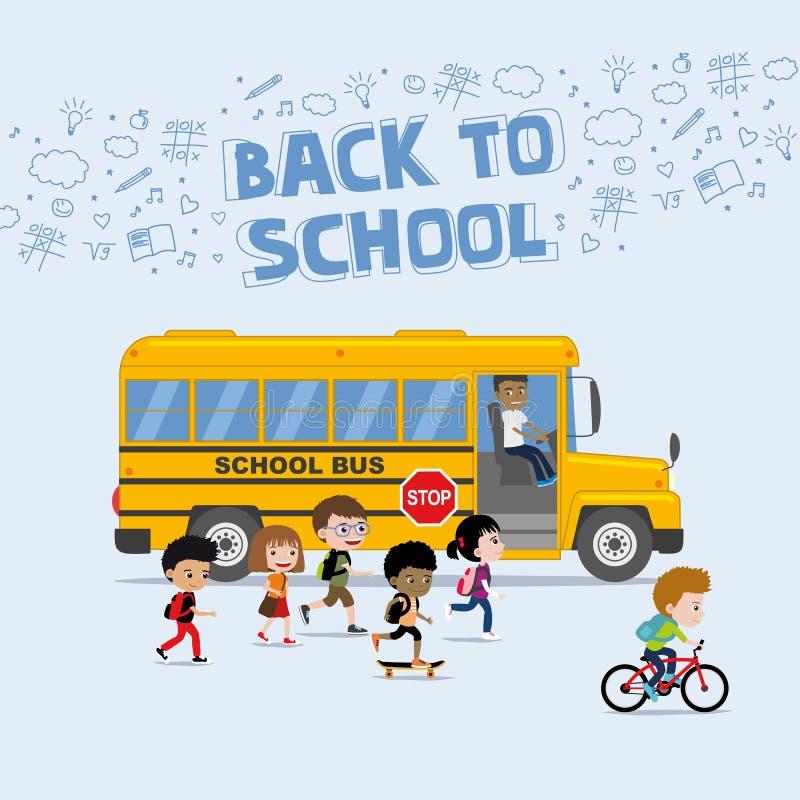 Di nuovo all'illustrazione della scuola nello stile piano: diverso gruppo di bambini che si imbarcano su scuolabus illustrazione vettoriale