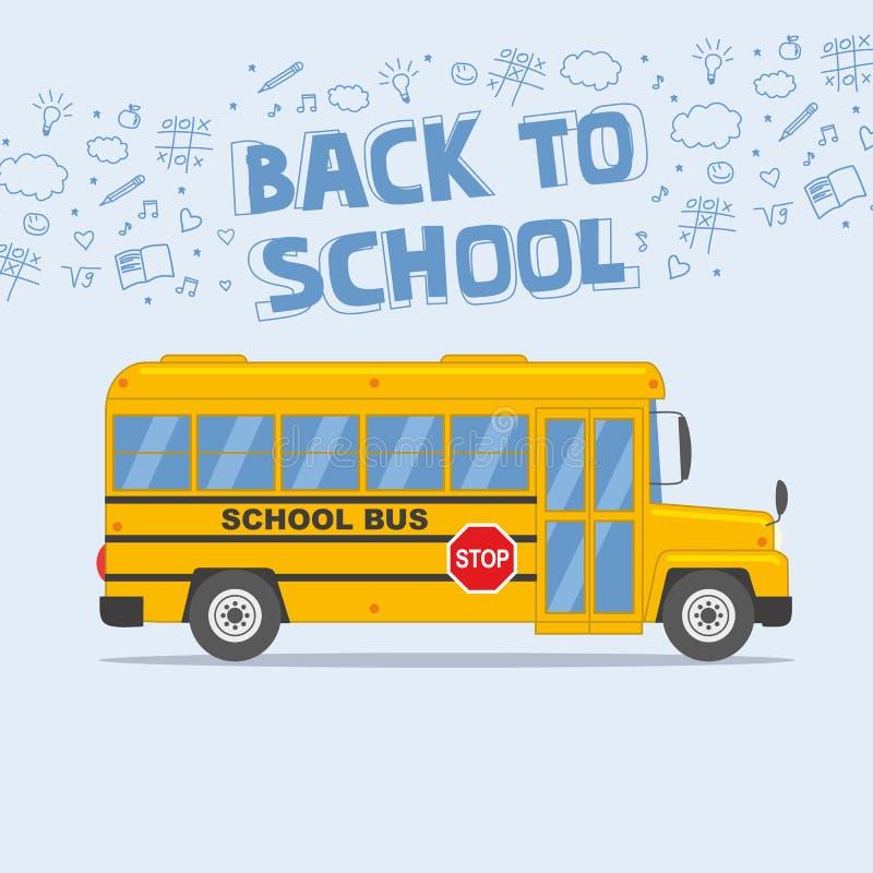 Di nuovo all'illustrazione della scuola: scuolabus giallo isolato su fondo leggero illustrazione vettoriale