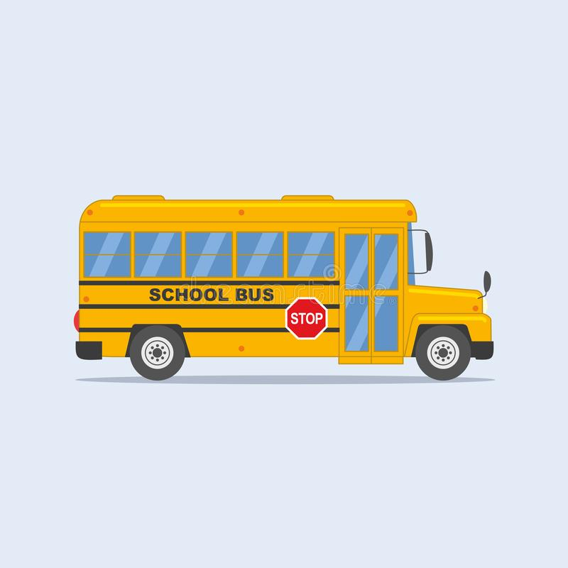 Di nuovo all'illustrazione della scuola: scuolabus giallo isolato su fondo leggero illustrazione di stock