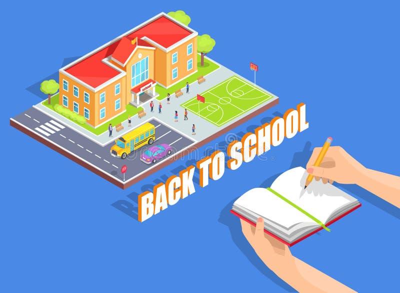 Di nuovo all'illustrazione della scuola su fondo blu illustrazione di stock