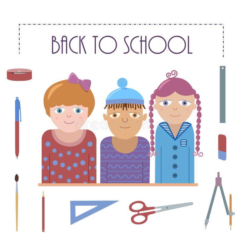 Di nuovo all'illustrazione della scuola - tre bambini ed insiemi dei rifornimenti di scuola royalty illustrazione gratis