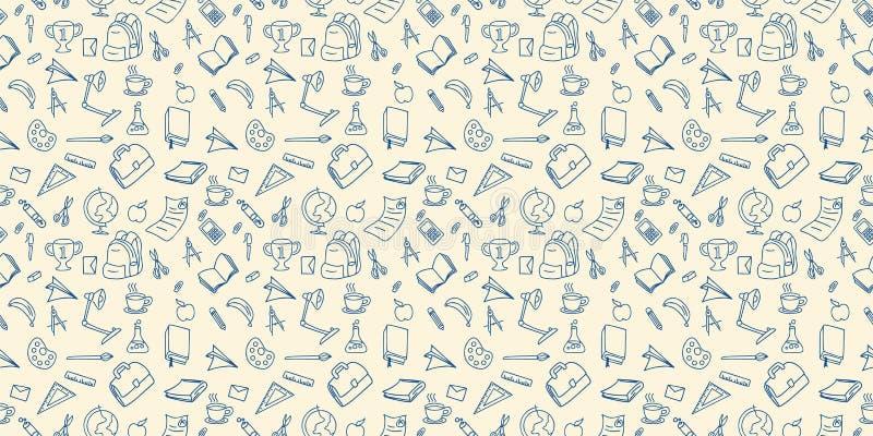 Di nuovo all'illustrazione di disegno di vettore di progettazione del lineart del fondo del modello senza cuciture di scarabocchi illustrazione di stock