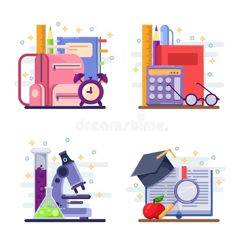 Di nuovo all'illustrazione piana dell'estratto di vettore della scuola Icone di studio e di istruzione, etichette, autoadesivi ed illustrazione di stock