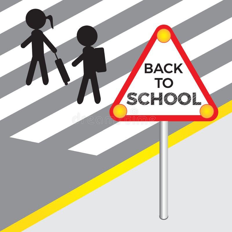 Di nuovo all'illustrazione di vettore della scuola con la siluetta dei bambini ed al segno con testo di nuovo a scuola illustrazione vettoriale