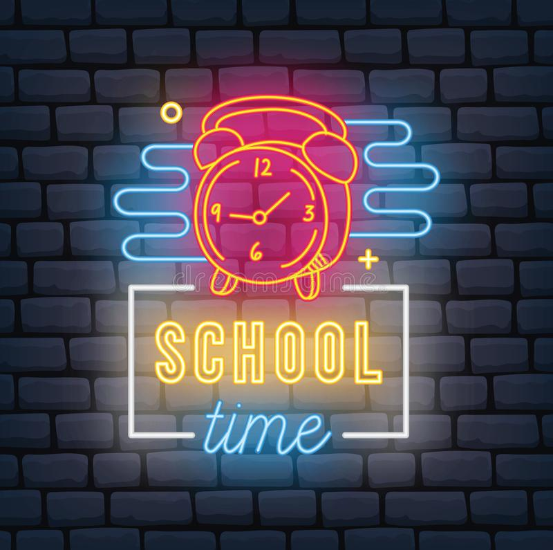 Di nuovo all'insegna al neon di tema della scuola illustrazione di stock