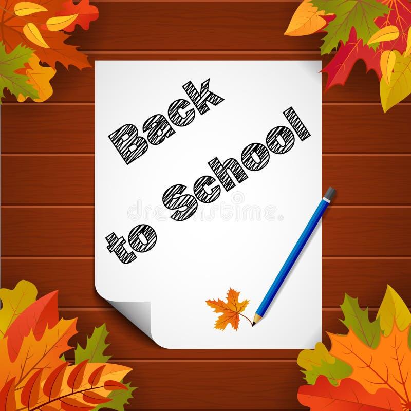 Di nuovo all'insegna di scuola con carta, le foglie e il pensil su fondo di legno Manifesto di istruzione scolastica Vettore eps1 illustrazione di stock