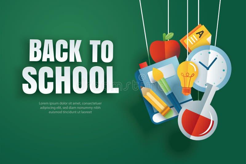 Di nuovo all'insegna di scuola con gli oggetti di istruzione che appendono sul fondo verde della lavagna nello stile di carta di  royalty illustrazione gratis