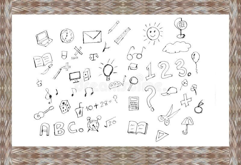 Di nuovo all'insieme di benvenuto della scuola l'istruzione di concetto di progetto fornisce le icone su fondo di legno Illustraz illustrazione vettoriale